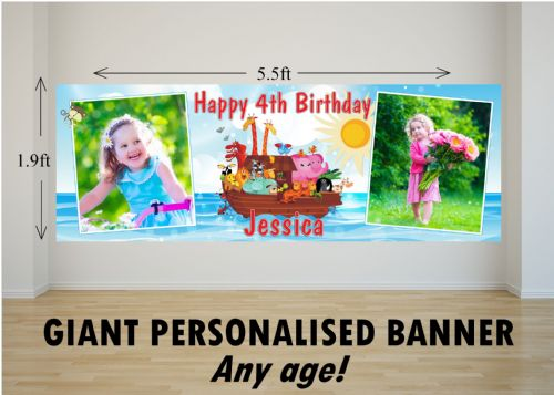 Personalised GIANT Large Girls Boys Noahs Ark Animals Happy Birthday PHOTO Poster Banner N43 ANY AGE